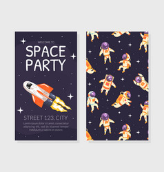 space party invitation card template birthday vector image