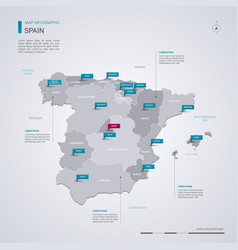 spain map with infographic elements pointer marks vector image