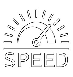 speed dashboard logo outline style vector image