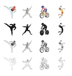 sports karate athlete and other web icon in vector image
