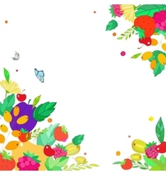 square frame from berries fruits leaves vector image