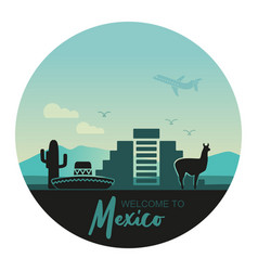 stylized round landscape mexico with a llama vector image
