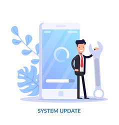 System update concept cartoon vector
