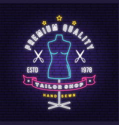 tailor shop neon design or emblem night vector image