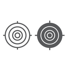 target line and glyph icon focus and goal aim vector image