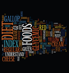 The low carb glycemic index diet text background vector