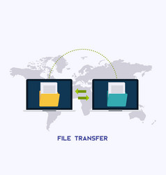 transfer files laptops with folders on screen and vector image