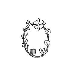 Vintage floral bold letter o logo spring classic vector