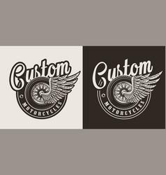 Vintage monochrome custom motorcycle badge vector