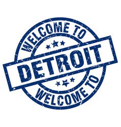 Welcome to detroit blue stamp vector