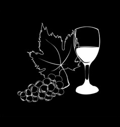 Wine in wineglass and grapes with leaf vector