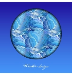 Winter frozen glass background Circle design with vector
