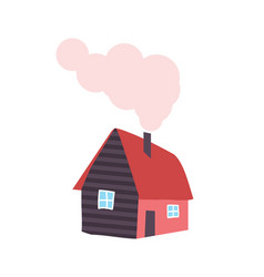 winter house with chimney smoke from pipe vector image