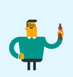 young caucasian man drinking soda vector image