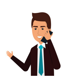 businessman avatar with cellphone icon vector image