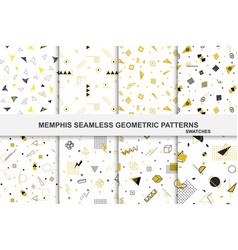 collection of retro geometric patterns with mosaic vector image