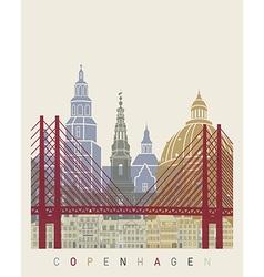 Copenhagen skyline poster vector