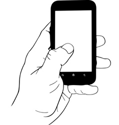 Hand holding mobile phone vector image