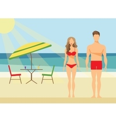 Happy Family on the Beach Man and Woman Swimwear vector image vector image