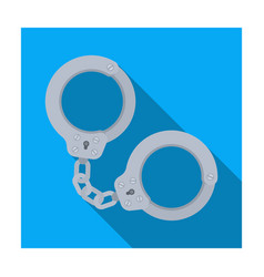 metal handcuffs for detaining criminals outfit of vector image