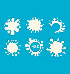 milk splash set of labels white milk splashes vector image vector image
