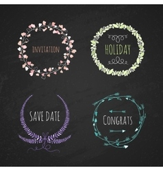 Set romatichnyh wreaths Hand drawing vector image