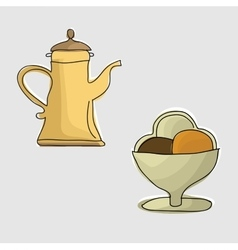 Coffee pot with coffee vector image vector image