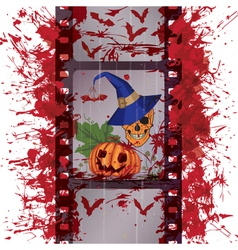 film strip skull and pumpkin vector image vector image
