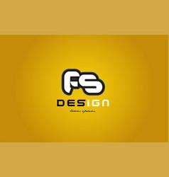 fs f s alphabet letter combination digit white on vector image