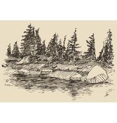 Hand drawn landscape lake and fir forest sketch vector image vector image
