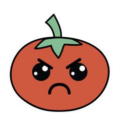 Kawaii cute angry tomato vegetable vector