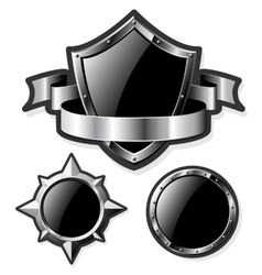 Set of steel glossy shields isolated on white vector image