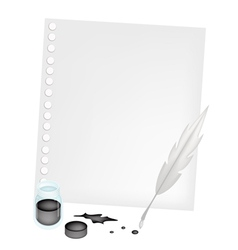 Blank Paper with An Inkwell and Feather vector image vector image
