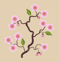 blooming sakura branch vector image vector image
