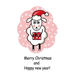 Cartoon sheep holding a gift vector image
