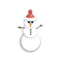 Christmas Snowman Paper Icon New Year Flat Style vector image