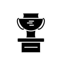 cup winner podium icon black vector image
