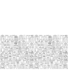man and woman hand drawn clothes seamless border vector image