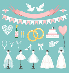 wedding symbols in cartoon style cake flowers vector image vector image