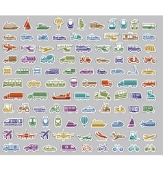 104 Transport icons set retro stickers vector image vector image