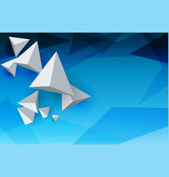 abstract whirte triangles 3d blue sky background vector image
