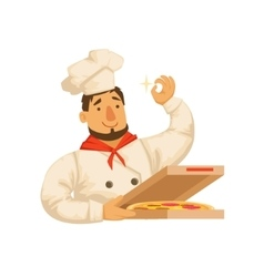 Chef packing pizza in boxpart of italian fast vector