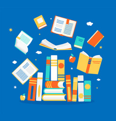 Close and open books in different positions vector