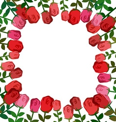 Frame of roses Red background beautiful flowers vector image vector image