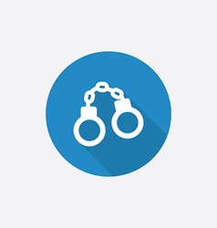 handcuffs Flat Blue Simple Icon with long shadow vector image
