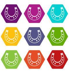 horseshoe icon set color hexahedron vector image vector image