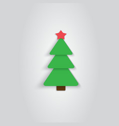 Paper Christmas Tree Icon New Year Flat Style vector image vector image