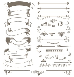 Vintage ribbons and design elements set vector image vector image