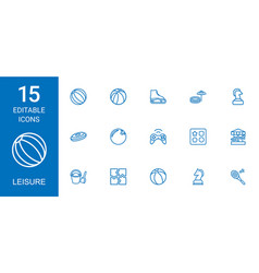 15 leisure icons vector
