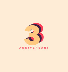 3 years anniversary template design vector